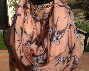 Pink SNOOD SEWN soft viscose with swallows