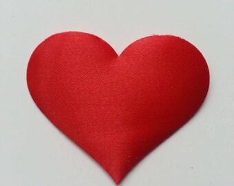 coeur satin matelassé  rouge  50*40mm