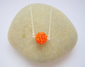 Women in Korean amber rhinestone necklace