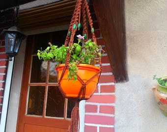 """For small plants pattern """"almond"""" macrame wall hanging"""