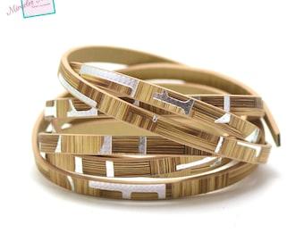 """1.2 m leather strap double 5 mm fancy """"letter"""", beige/silver"""
