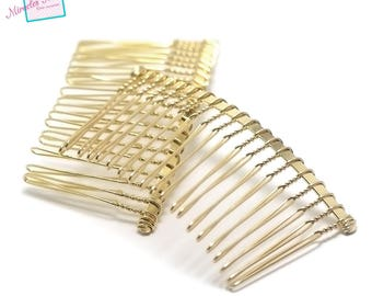 4 Combs hair curved 77x38x2mm, gold