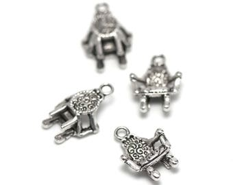 """Has 4 """"Chair 3 D"""" charms, 17 x 13 x 5 mm, silver, 025"""