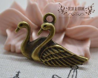 QDW035 pendant, bird, Swan, Swan, bronze