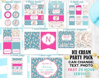 Ice cream Party pack Ice cream summer party decorations Ice cream shoppe birthday pack