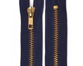 Denim Navy metal Zip size 15 cm