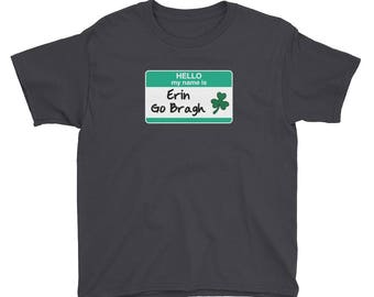 Youth Erin Go Bragh shirt St Patricks Day leprechauns shamrocks green march 17 parade ireland Blarney Stone 4 leaf clover gift shenanigans