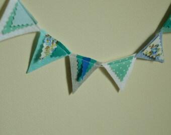 Mini Felt Bunting, Mini Felt Garland, Wall Hanging, Home Decor, Party Decor, Playroom, Nursery, Blue, Party Bunting, Party Garland, Gift