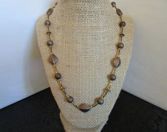 Round Brown & Diamond Shape Beaded Necklace