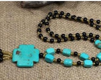 "30 "" Long Turquoise Beads Necklace with Cross Pendant"