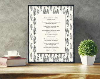 Psalm 19:7-11 Bible Verse Printable, Black and White 8 x 10