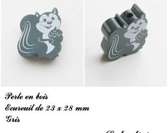 23 x 28 mm wood bead, Pearl flat squirrel: gray