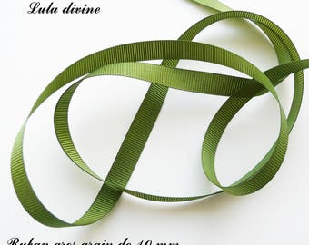 Ribbon 10 mm, sold in 2 meters grosgrain: dark green