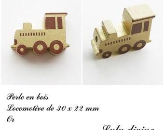 30 x 22 mm wood bead, Pearl flat Train / Locomotive: Gold