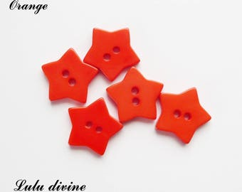 Set of 5 star buttons 17 mm 2-hole: Orange