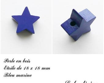 18 x 18 mm wooden bead, bead flat Star: Navy Blue