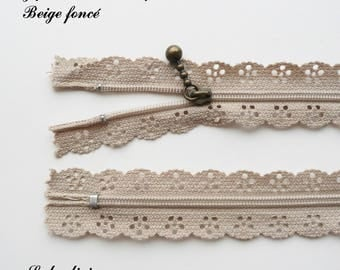 Lace zipper beige dark 25 cm not separable sold individually