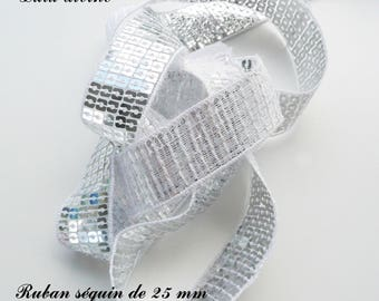 Ribbon / lace sequin glitter 25 mm, sold by 50 cm: Silver