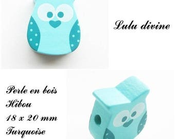 18 x 20 mm wooden bead, Pearl flat OWL / owl: Turquoise