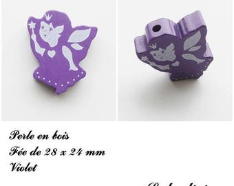 28 x 24 mm wooden bead, Pearl flat fairy: Violet