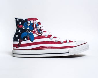 "Custom Converse High Top ""Captain America is all the rage"""