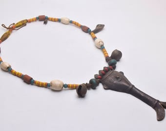 Traditional NAGA Necklace with Old Handmade Yellow white Colored Glass Beads and Large Metal Pendant, Ethnic Jewelry