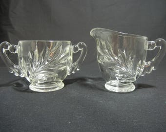 Willow, Oleander, or Magnolia (WOM) Pattern by Indiana Glass Co. Creamer and Sugar set