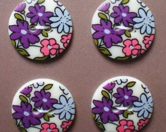 Purple liberty novelty buttons 18mm - 4 buttons sewing purple large flower - button flower violet white