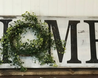 Home wood sign, home sign, Rustic, Farmhouse Decor, Rustic Home Decor, Home Wreath Sign, Farmhouse Sign,  Wreath Wood Sign, Wall Sign