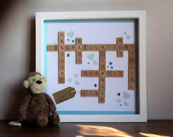 Personalised New Baby Scrabble Frame
