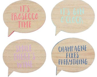 Set of 4 wooden drinking coasters