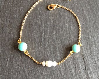 Bracelet turquoise and white rock crystal and Pearl
