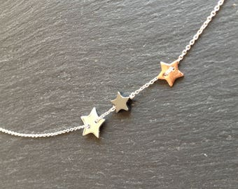 Necklace fine silver stars rose gold black hematite