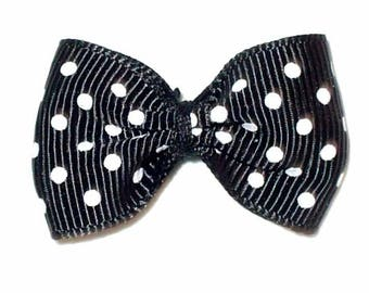 5 bowties Black medium polka dots 40x25mm ACA191noir
