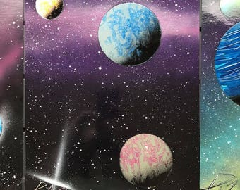 Spray Paint Art - Two Planets and a Moon