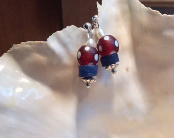 Red and White Skunk Beads Earrings