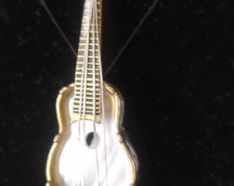 Vintage guitar brooch,pin,mother of pearl,goldtone,ornate,unusual,detailed,spain