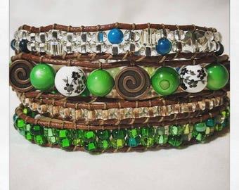 Wrap Bracelet - Green & Copper