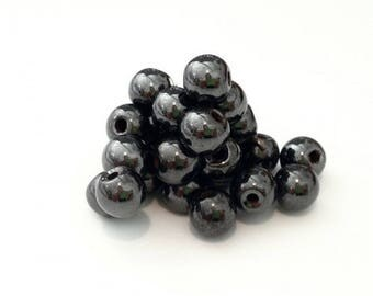 ❤ X 50 magnetic hematite beads 6mm ❤