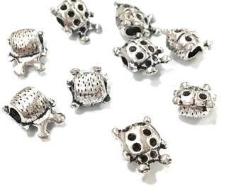 X 6 10mm metal Ladybug beads