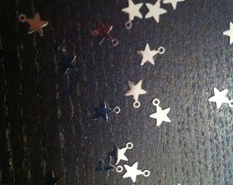 set of 10 thin charms star metal 6mm approx with hole 1 mm to attach