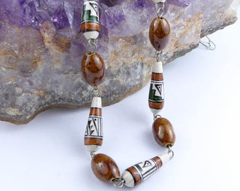 Beautiful hand-painted ceramic bead necklace