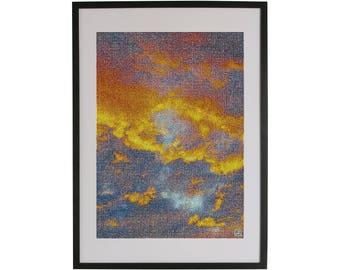 Orange sky art print. High quality Scandinavian contemporary art piece