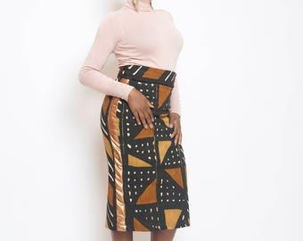 Pencil skirt high waisted Bogolan leatherette
