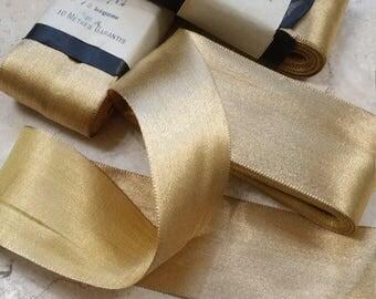 "2"" METAL Vintage French Gold Ribbon Lame ribbon, ribbonworks bows millinery, wedding, Bridal, shoes, etc..."