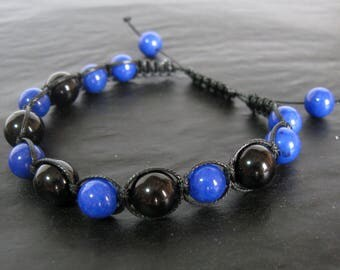 Jade and Onyx Macrame Bracelet, Bohemian Jewelry, Handmade Bracelet, Women's Bracelet, Natural Stone Bracelet, Jewelry Gift, Boho Jewelry