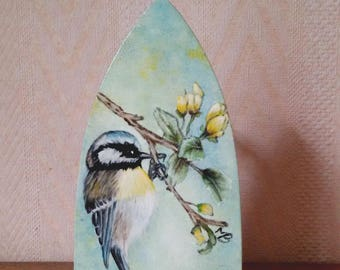 Blue tit, painted on the sole of an old cast iron