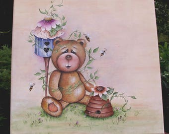 """""""Pooh"""" acrylic painting canvas on frame wood for child's room"""