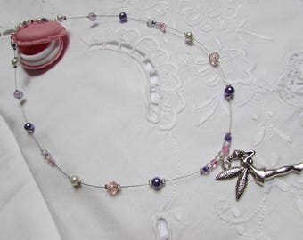 """Fairy"" pink/purple/white color - with beads necklace"
