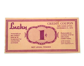1970's Lucky Store Credit Coupon.  RARE. 1 cents.  Collectible advertising ephemera.